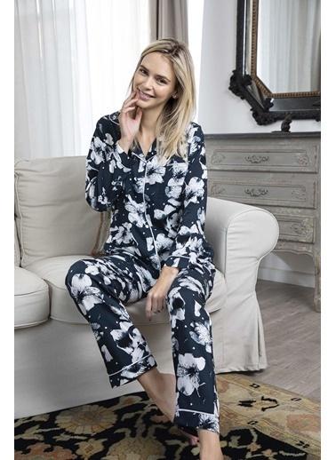 Aydoğan Kadın Dokuma Çiçekli Uzun Kollu Pijama Takımı Renkli